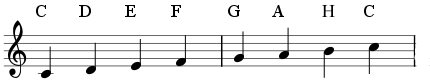 Notes: C, D, E, F, G, A, B, C