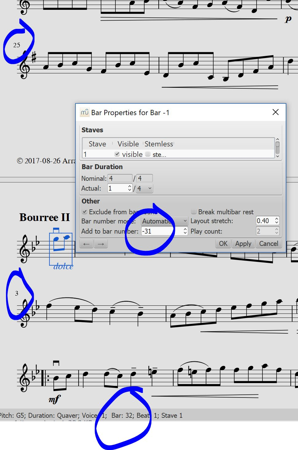 Add measure numbers musescore