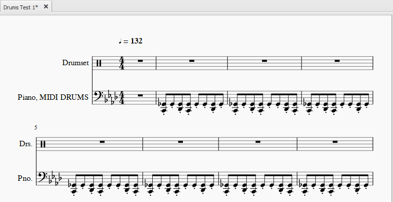 Drums notation for imported MIDI file | MuseScore