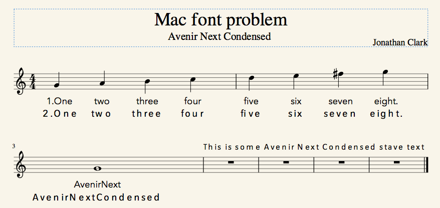 Mac Font Problem: Avenir Next Condensed | MuseScore