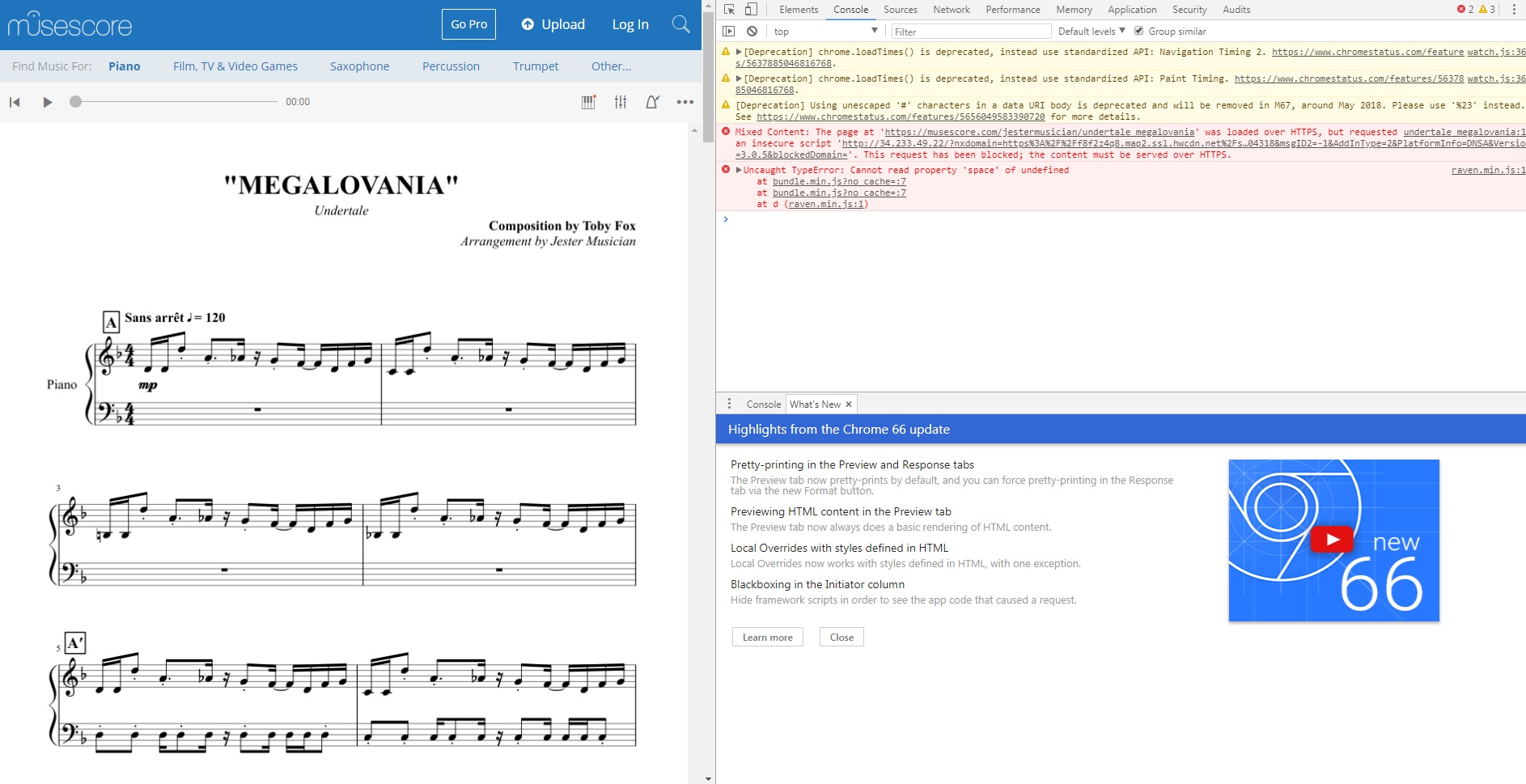 Can't play song or scroll through music sheet on website