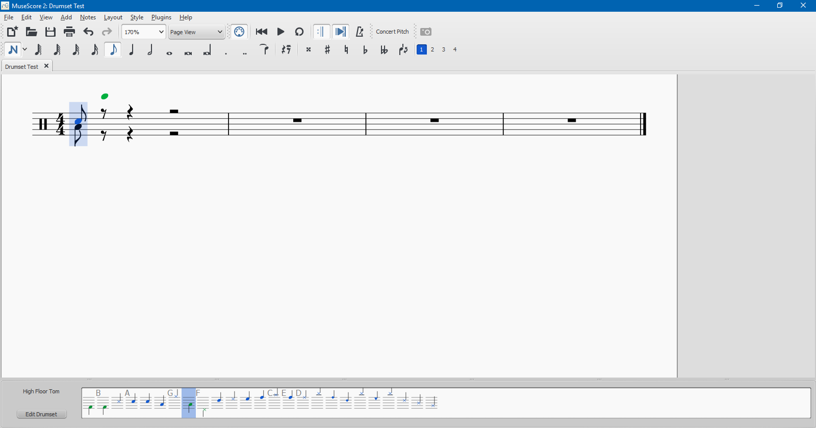Drumset notehead in a voice other than specified | MuseScore