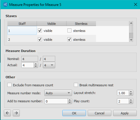 Dialog: Measure Properties