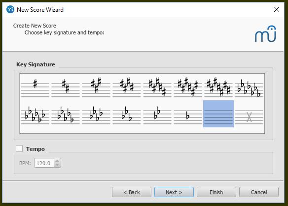 Partitur erstellen: Auswahl der Tonart