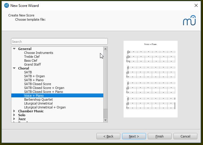 Partitur erstellen: Vorlagendatei auswählen