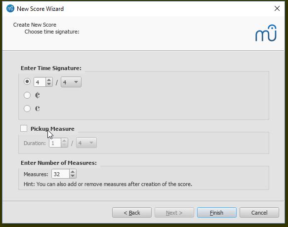 Partitur erstellen: Taktart, Auftakt und Taktanzahl