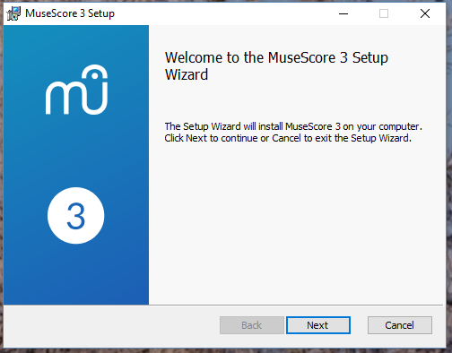 Welcome to the MuseScore 3 Setup Wizard