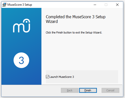 Completed the MuseScore 3 Setup Wizard