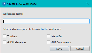 Create new workspace dialog