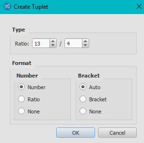 Create Tuplet dialog