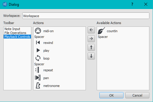 Customize toolbars dialog