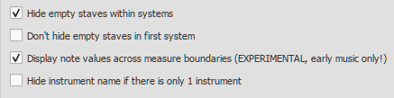 Score menu option to display note values across measure boundaries