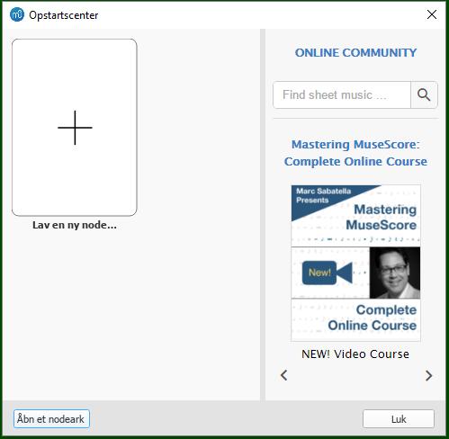 cac3eea5311d Det kan også åbnes fra menuen ved at vælge Fil → Startcenter...
