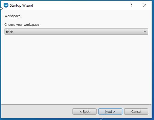Startup Wizzard - Workspace