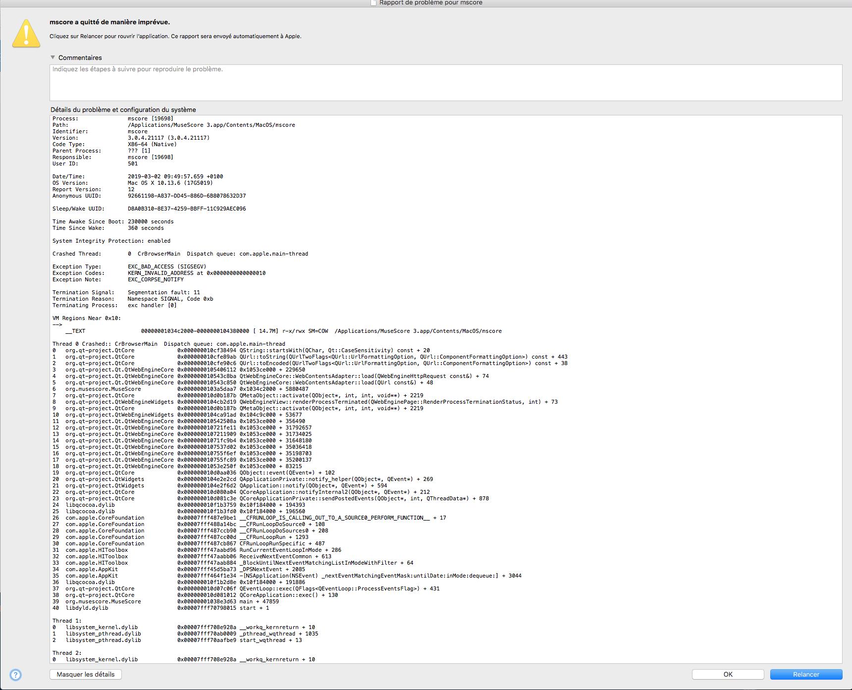 MuseScore 3 0 4 on macOS is crashing on startup  | MuseScore
