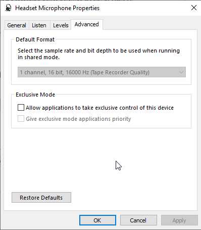 No Audio: Synthesizer menu item greyed out, PortAudio settings all