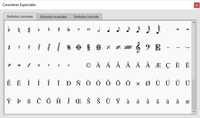 La paleta de Caracteres especiales permite insertar símbolos en el texto (ej. una clave de Sol), o caracteres especiales (ej. el símbolo del copyright, ©)
