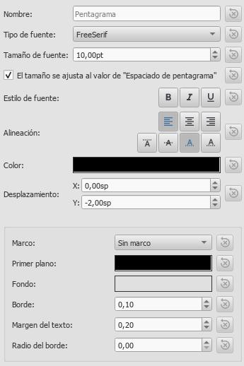 Ventana de Estilos de texto mostrando las propiedades del texto de pentagrama