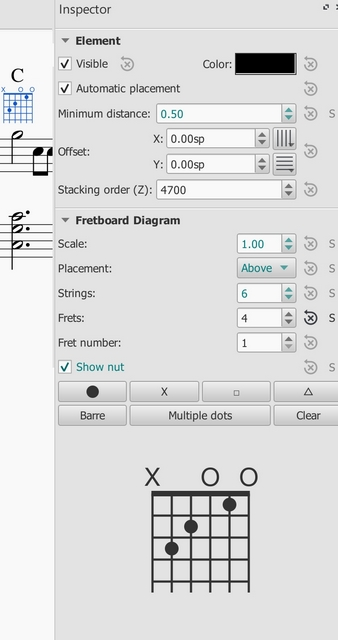 Fretboard Diagrams via Inspector