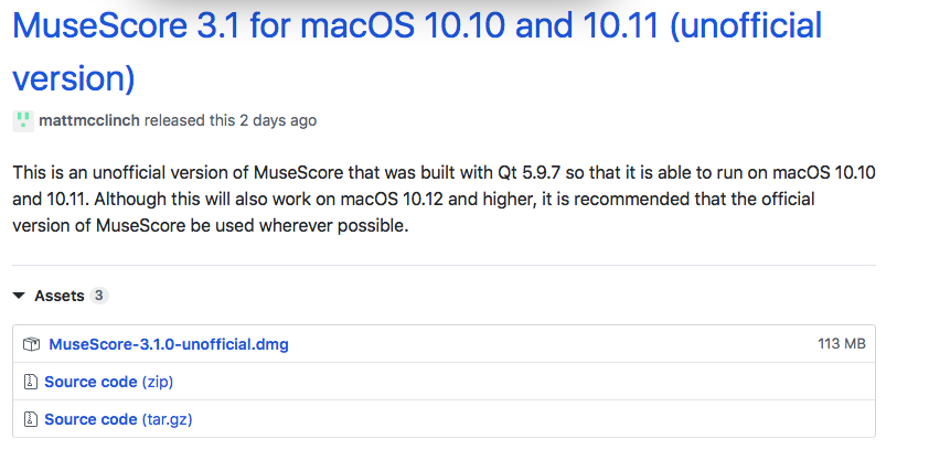 MuseScore 3 does not run on macOS 10 10 & 10 11 | MuseScore