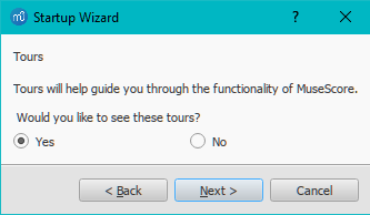 Startup Wizard: Tours page
