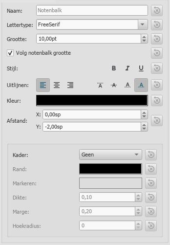 Tekststijl venster met de eigenschappen voor notenbalktekst