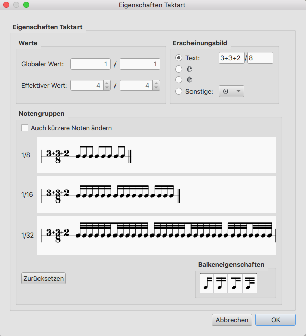 Taktarten für additive Rhythmen