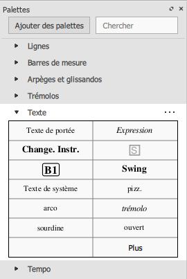 Palette texte