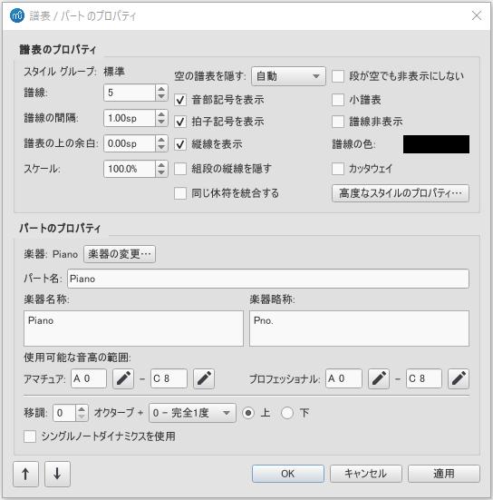 Staff type properties