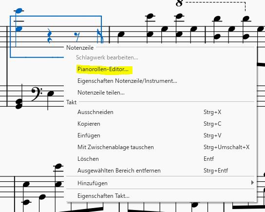 Kontextmenü zum Öffnen Pianorollen-Editor