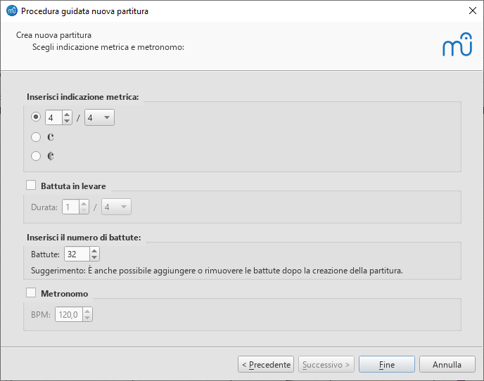 Procedura guidata nuova partitura: Crea indicazione metrica e imposta opzioni battute