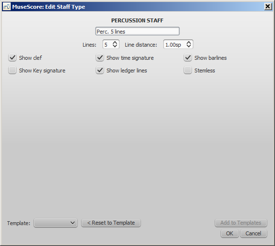 Advanced staff type properties - Percussion