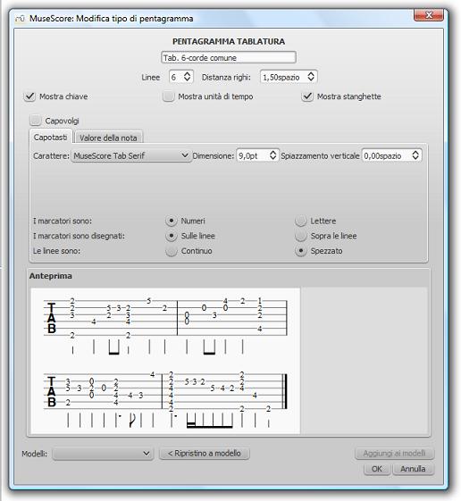 Advanced staff type properties - Tablature, Fret marks