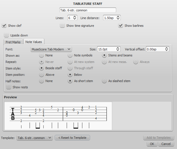 Advanced staff type properties - Tablature, Note values