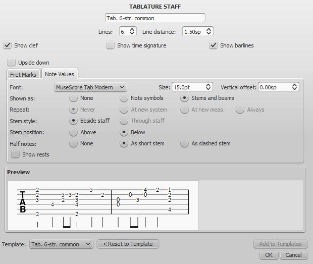 Advanced staff type properties - Tablature, Note values