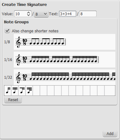 Create new time signatures