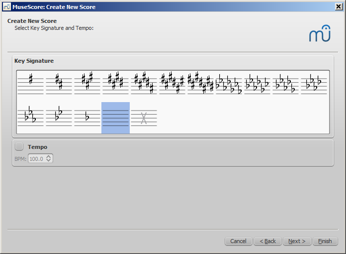 New Score wizard: Select key signature