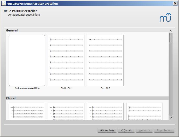 Assistent für neue Partitur: Vorlage auswählen