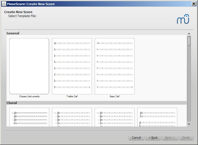 Fenetre de nouvelle partition : Sélectionner le fichier modèle