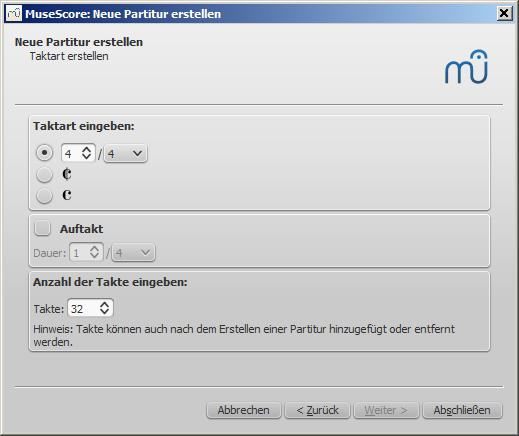 Assistent für neue Partitur: Takt-Optionen