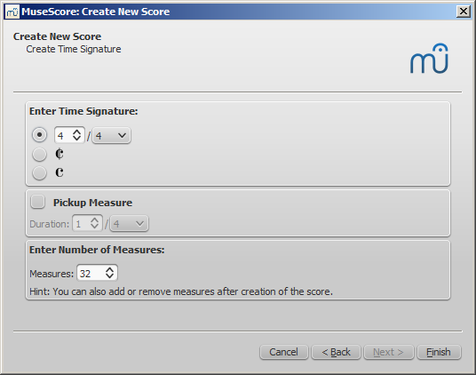 New score wizard: Create time signature and set measure options