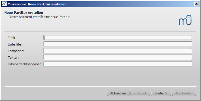 Assistent für neue Partitur: Titel, Untertitel, etc.