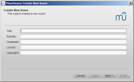 New Score wizard: Title, subtitle, etc.