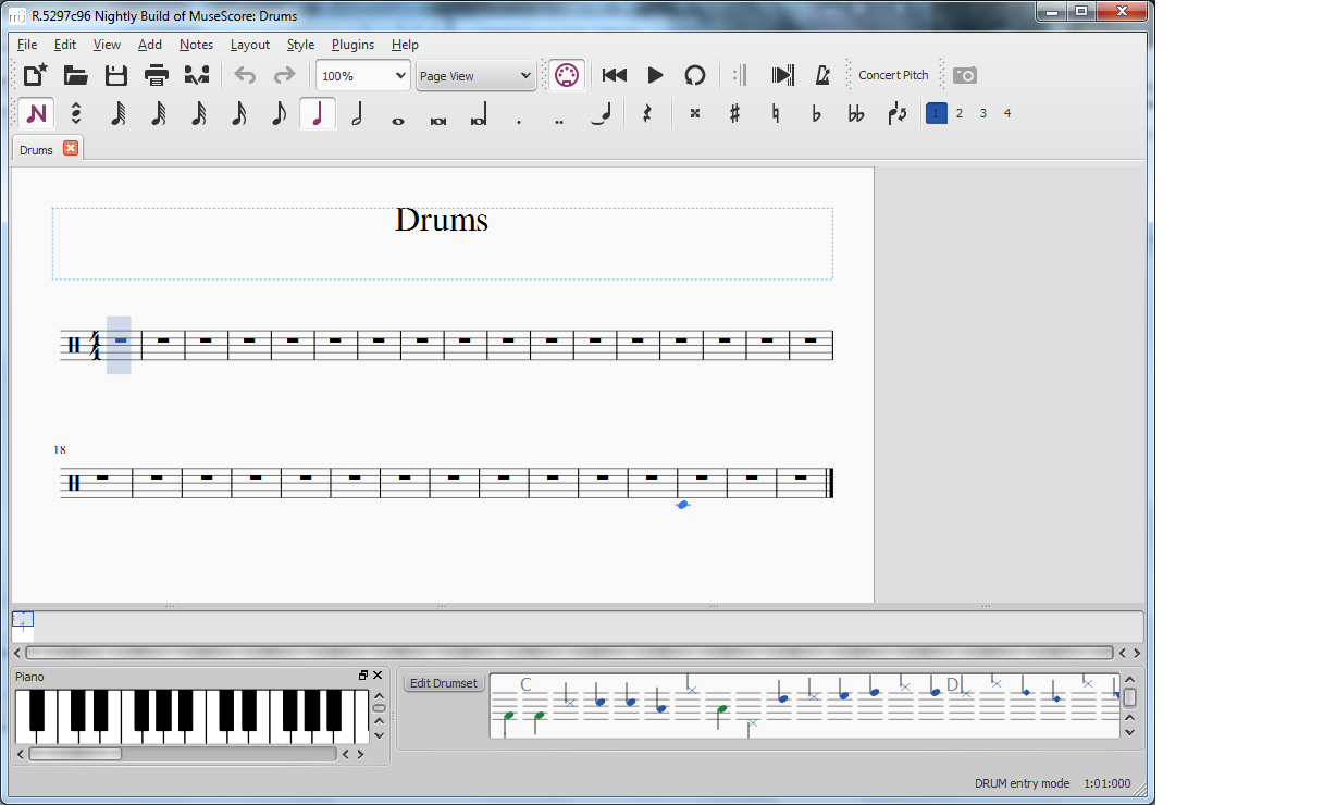 Drumset instrument panel UI | MuseScore