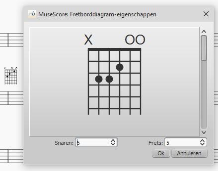 Fretborddiagram - stap 1