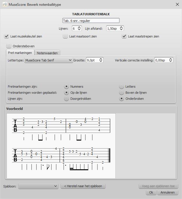 Geavanceerde notenbalk-eigenschappen - Tablatuur, Fret markeringen