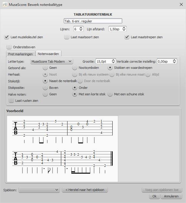 Geavanceerde notenbalk-eigenschappen - Tablatuur, Notenwaarden