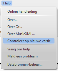 Menu: Help / Controleer op nieuwe versie