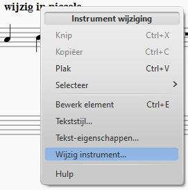Menu: Instrument wijziging