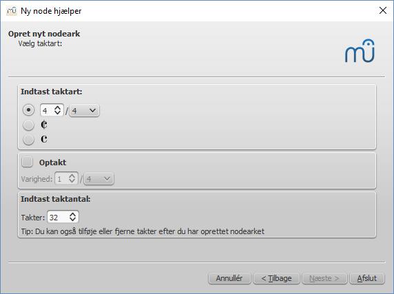 Ny node hjælper: Vælg taktart, optakt og antal takter
